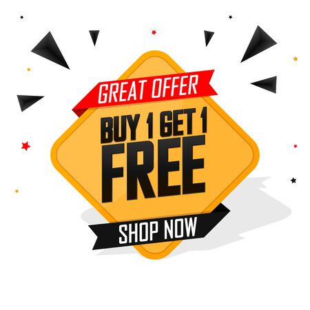 Buy 1 Get 1 Free, Sale banner design template, discount tag, bogo, lowest price, spend up and save more, special offer, vector illustration Vettoriali