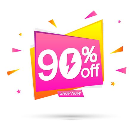 Sale 90% off, special offer, banner design template, discount tag, app icon, vector illustration