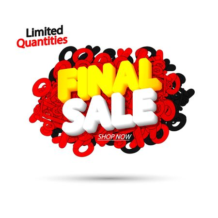 Final Sale tag with bubble banner design template. App icon vector illustration.