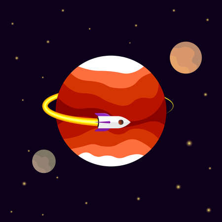 Space Mission, poster design template, spaceship flies in the orbit of an unknown planet, vector illustration