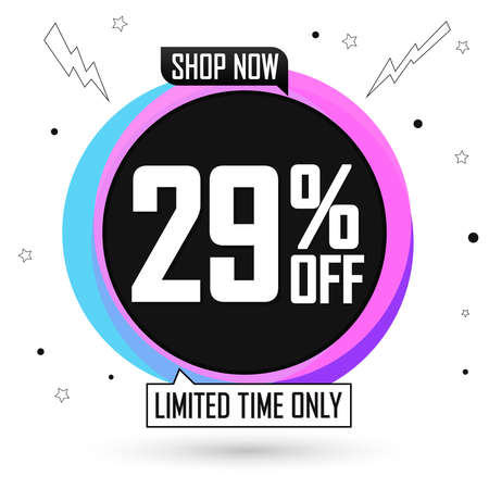 Sale 29% off, bubble banner design template, discount tag, special offer, vector illustration Illustration