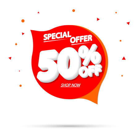 Sale 50% off, speech bubble banner, discount tag design template, vector illustration