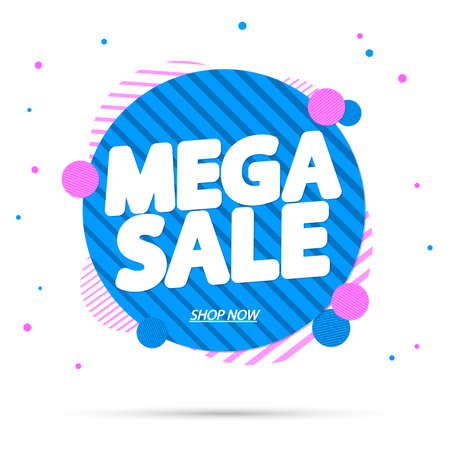 Mega Sale, banner design template, discount tag, special offer, promo tag, spend up and save more, promotion poster illustration