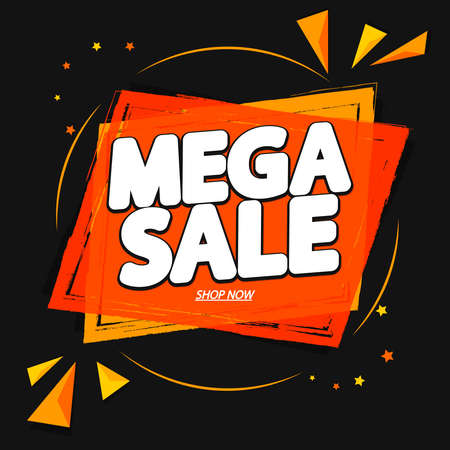 Mega Sale, banner design template, discount tag, special offer, promo tag, spend up and save more, promotion poster illustration Иллюстрация