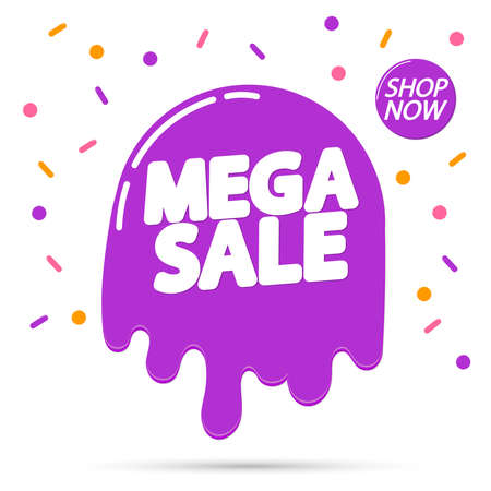 Mega Sale, banner design template, discount tag, special offer, promo tag, spend up and save more, promotion poster, illustration