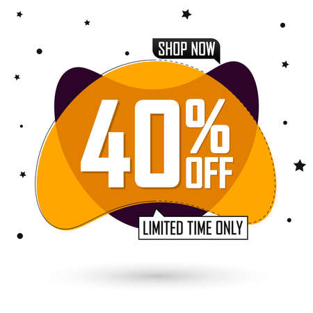 Sale 40% off, bubble banner design template, discount tag, limited time only, special offer, app icon, spend up and save more, vector illustration Illusztráció