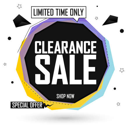 Clearance Sale tag, bubble banner design template, special offer, limited time only, app icon, spend up and save more, promotion poster, vector illustration Illusztráció