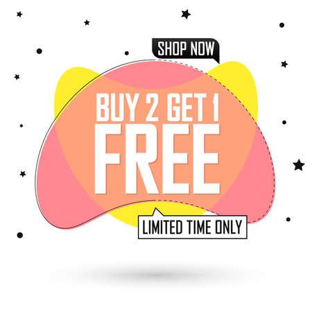 Buy 2 Get 1 Free, sale bubble banner design template, discount tag, app icon, vector illustration Illusztráció