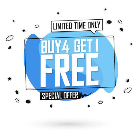 Buy 4 Get 1 Free, sale bubble banner design template, discount tag, app icon, vector illustration