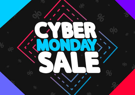 Cyber Monday, sale poster design template, special offer, vector illustration