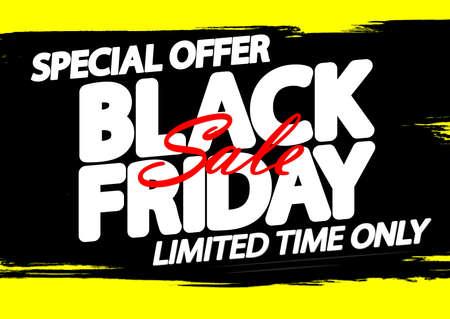 Black Friday Sale, poster design template, special offer, vector illustration