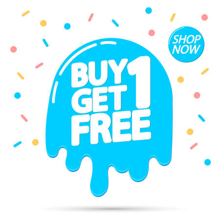 Buy 1 Get 1 Free, Sale banner design template, discount tag, lowest price, spend up and save more, vector illustration