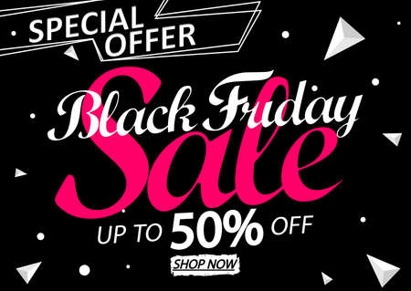 Black Friday Sale 50% off, discount poster design template, final season offer, promotion banner, vector illustration