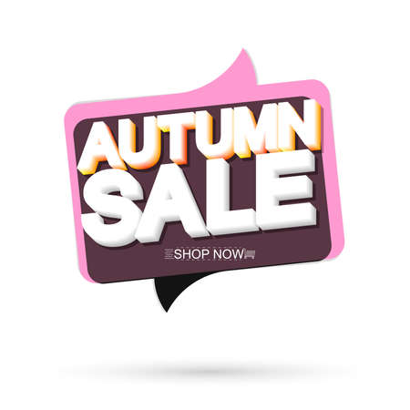 Autumn Sale speech bubble banner design template, Fall discount tag, app icon, vector illustration