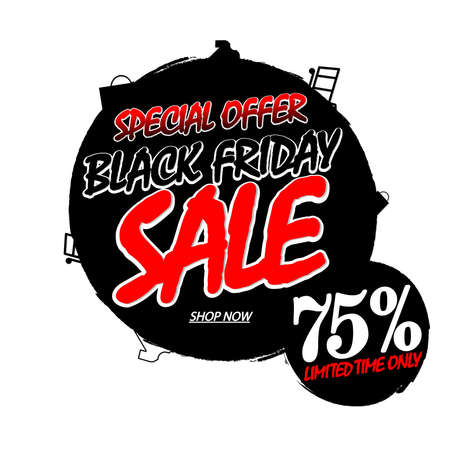 Black Friday Sale 75% off, banner design template, clearance offer, end of season, vector illustration