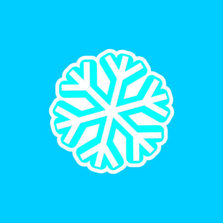 Snowflake icon, winter symbol, template flat graphic design, cold sign, Xmas time, isolated temperature button for app, vector illustration