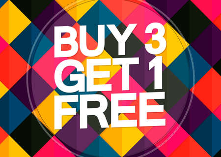 Buy 3 Get 1 Free, Sale poster design template, season offer banner, vector illustration