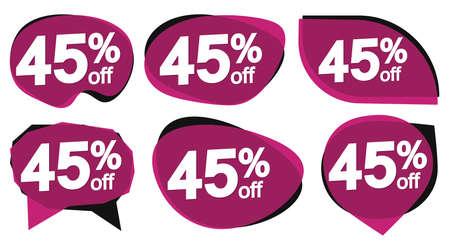 Set Sale 45% off banners, discount tags design template, special offer, end of season deal, app icons, vector illustration Ilustração Vetorial