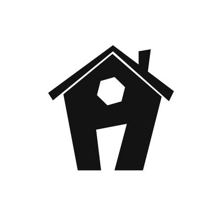 Home icon, house symbol, flat graphic design template, web sign, vector illustration