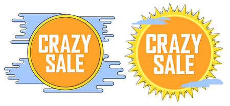 Set Crazy Sale banners, discount tags design template, vector illustration Ilustración de vector