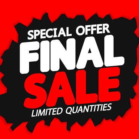 Final Sale, poster design template, discount banner, vector illustration Ilustração Vetorial