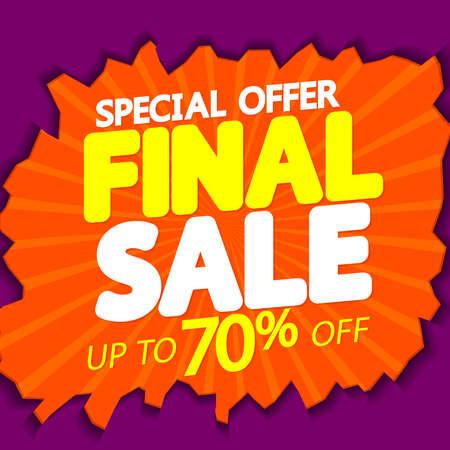 Final Sale up to 70% off, poster design template, special offer, final season discount banner, vector illustration Ilustração Vetorial