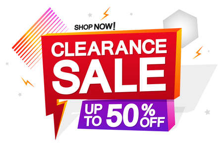 Clearance Sale, up to 50% off, banner design template, discount tag, promo tag, promotion poster, vector illustration Vector Illustratie