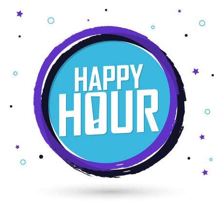 Happy Hour, banner design template, sale tag, vector illustration