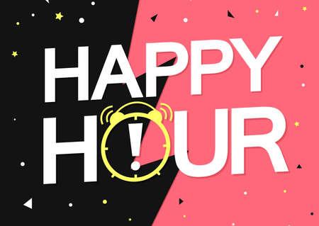 Happy Hour, poster design template, sale banner, vector illustration Ilustración de vector