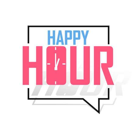Happy Hour, banner design template, sale tag, vector illustration Ilustración de vector