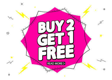 Buy 2 Get 1 Free, Sale banner design template, discount tag, spend up and save more, vector illustration
