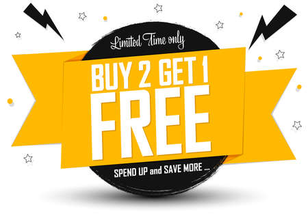 Buy 2 Get 1 Free, Sale banner design template, discount tag, spend up and save more, vector illustration Vettoriali