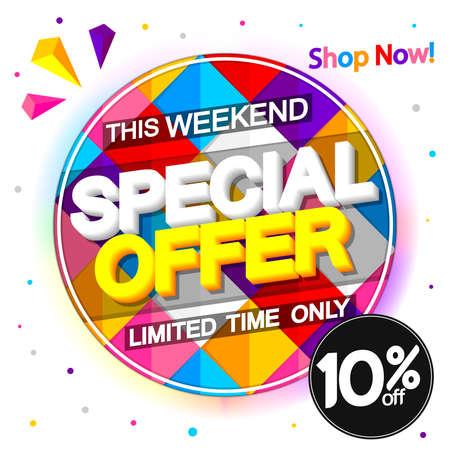 Sale 10% off, discount banner design template, promo tag, vector illustration Vecteurs