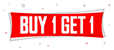 Buy 1 Get 1 Free, Sale banner design template, discount tag, bogo, lowest price, spend up and save more, vector illustration Vettoriali