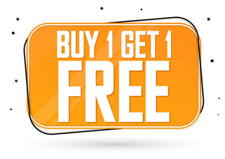 Buy 1 Get 1 Free, Sale banner design template, discount tag, bogo, lowest price, spend up and save more, vector illustration
