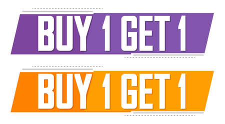 Buy 1 Get 1 Free, Set Sale banners design template, discount tags collection, great offer, vector illustration Vectores
