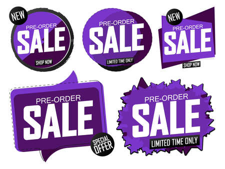Set Pre-Order Sale banners design template, discount tags, vector illustration Imagens - 167563169
