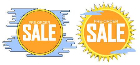Set Pre-Order Sale banners design template, discount tags, vector illustration Imagens - 167563171