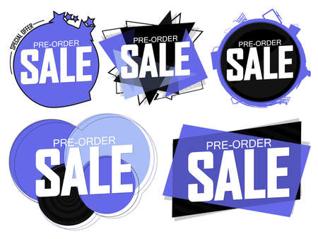 Set Pre-Order Sale banners design template, discount tags, vector illustration