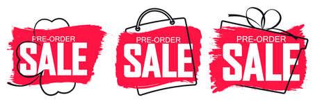 Set Pre-Order Sale banners design template, discount tags, vector illustration Imagens - 167563175
