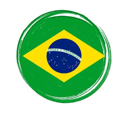Flag of Brazil, banner with grunge brush Imagens - 167563194