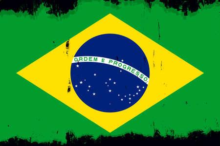 Flag of Brazil, banner with grunge brush Imagens - 167563218