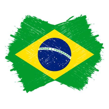 Flag of Brazil, banner with grunge brush Imagens - 167563238