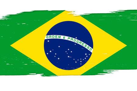 Flag of Brazil, banner with grunge brush Imagens - 167563264