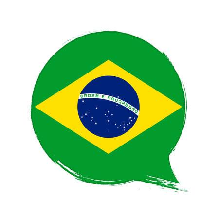 Flag of Brazil, banner with grunge brush Ilustração