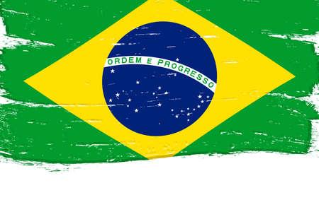 Flag of Brazil, banner with grunge brush Imagens - 167563274