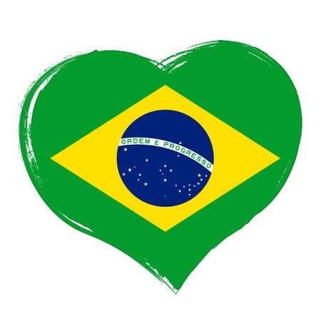 Heart symbol, flag of Brazil, vector illustration Ilustração