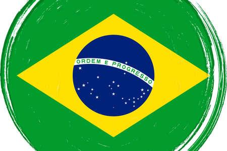 Flag of Brazil, banner with grunge brush Imagens - 167563286