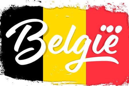 België, flag of Belgium, banner with grunge brush. Independence Day. National tricolor in original colors.