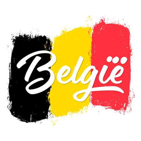 België, flag of Belgium, banner with grunge brush. Independence Day. National tricolor in original colors. Vectores